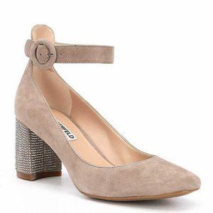 Karl Lagerfeld Taupe Suede Ankle Strap Women Pumps